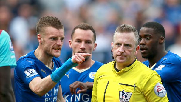 Leicester's Jamie Vardy reacts to referee Jon Moss after being sent off in the 2-2 draw with West Ham.