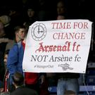 A minority of Arsenal fans protested during the Gunners' game against Norwich on Saturday.