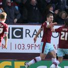 Burnley's Sam Vokes celebrates scoring his side's winner