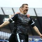 Defender Robert Huth celebrates his second goal in Leicester's 3-1 win at Manchester City in February.