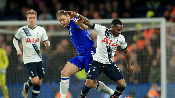 Branislav Ivanovic (left) and Danny Rose (right) battle for the ball during Tottenham's 2-2 draw at Chelsea.