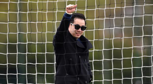 Leicester vice-chairman Aiyawatt Srivaddhanaprabha salutes after the club won the Barclays Premier League.