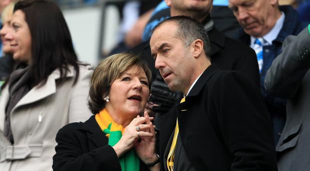 Norwich chief executive David McNally (right) has seemingly resigned following a 1-0 defeat to Manchester United