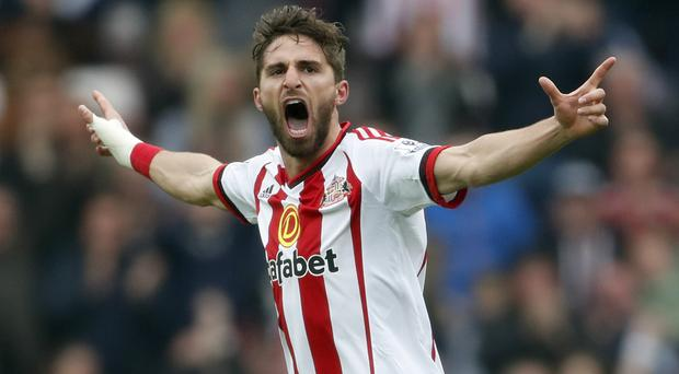 Sunderland's Fabio Borini celebrates his goal in a 3-2 victory over Chelsea
