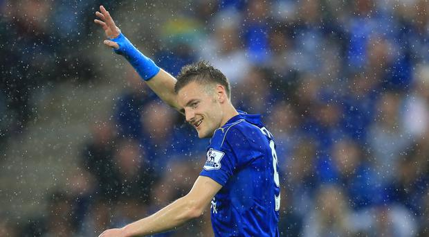 Jamie Vardy scored twice on his return to the Leicester team
