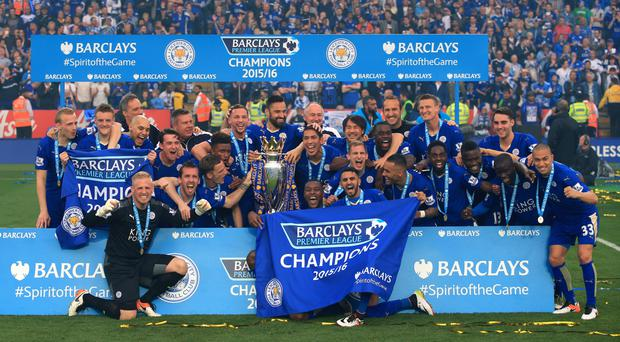Leicester celebrated winning the Premier League after beating Everton 3-1 on Saturday