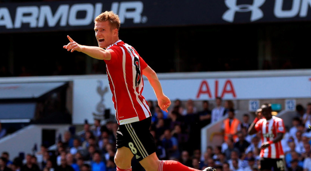 Pointing the way: Steven Davis celebrates after hitting a double in Southampton's 2-1 victory over Tottenham at White Hart Lane