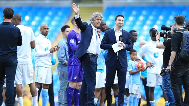 The mood fell flat as Manuel Pellegrini, centre, said goodbye to the Etihad Stadium