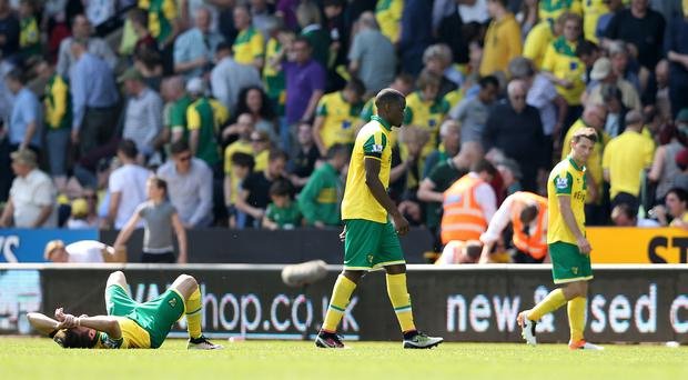 Norwich defender Sebastien Bassong (centre) is used to suffering relegation.