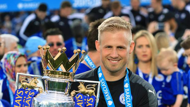 Leicester goalkeeper Kasper Schmeichel has helped the club win the Sky Bet Championship and Barclays Premier League