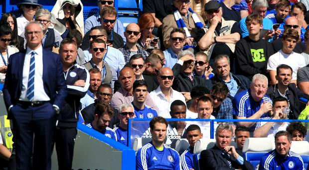 John Terry sat behind manager Guus Hiddink, front row, second right, as former boss Claudio Ranieri, left, returned to the club with champions Leicester