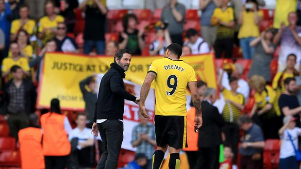 Troy Deeney, pictured right, salvaged a point for Watford at the end of Quique Sanchez Flores' last match in charge
