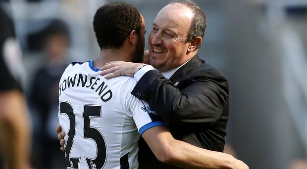 Newcastle owner Mike Ashley held talks with Rafael Benitez, right, after the final whistle, Press Association Sport understands