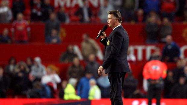 Manchester United manager Louis van Gaal was booed as he addressed the crowd