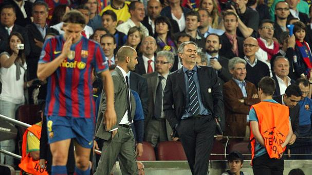 Coaches Jose Mourinho (right) and Pep Guardiola are set to renew rivalries in the Barclays Premier League next season