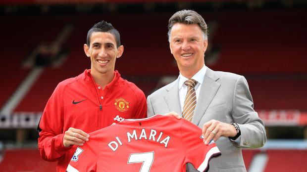 Louis van Gaal with Angel di Maria