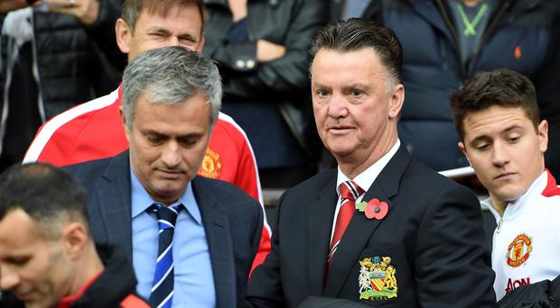 Jose Mourinho, pictured left, could succeed Louis van Gaal, right, as Manchester United manager