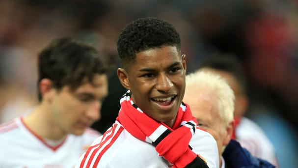 Manchester United's Marcus Rashford celebrates their FA Cup win over Crystal Palace last week after his breakthrough season.