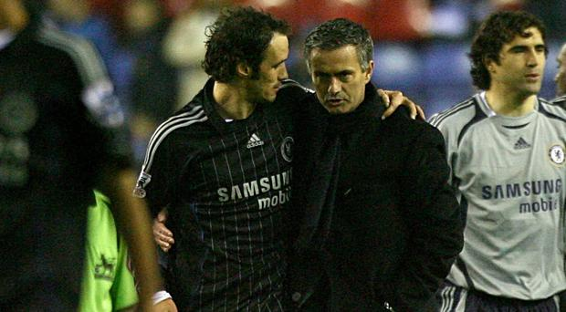 Ricardo Carvalho, left, expects Jose Mourinho, right, to win silverware at Old Trafford