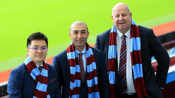 New Aston Villa owner Dr Tony Xia, manager Roberto Di Matteo and chief executive Keith Wyness were unveiled at Villa Park on Wednesday