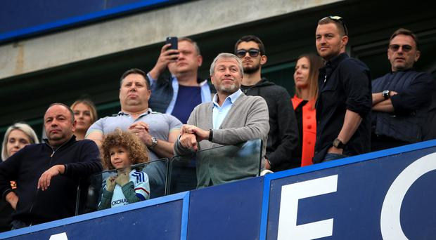 Chelsea owner Roman Abramovich (centre) must give new head coach Antonio Conte time to make an impact