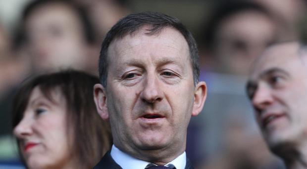 Swansea chairman Huw Jenkins, pictured, accompanied American investor Jason Levien at a club press conference on Friday