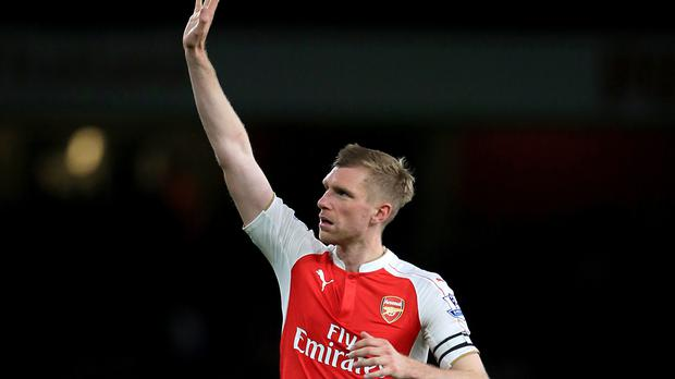 A knee injury means Arsenal will be without defender Per Mertesacker for