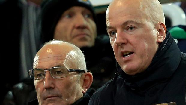 Jeremy Peace, right with manager Tony Pulis, has been chairman of West Brom since 2002.