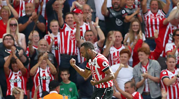 Southampton winger Nathan Redmond celebrates scoring on his Saints debut in the 1-1 draw with Watford.