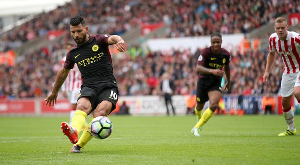 Sergio Aguero scored twice in Manchester City's win at Stoke