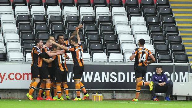 Shaun Maloney put Hull ahead at the Liberty Stadium