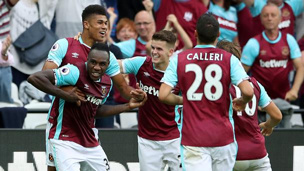 Michail Antonio, left, celebrates after scoring West Ham's winner