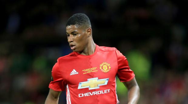 Manchester United boss Jose Mourinho says he prefers Marcus Rashford, pictured, being in the England Under-21 squad at the moment rather than the seniors.
