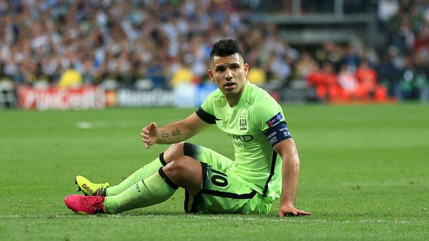 Sergio Aguero will miss the Manchester derby through suspension