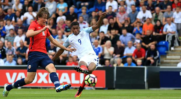 Marcus Rashford scores on his debut for the England Under-21s, going on to complete a hat-trick in the 6-1 win over Norway