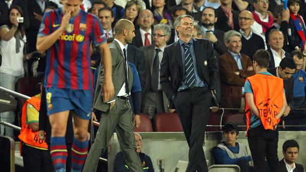 Jose Mourinho, right, and Pep Guardiola have met 16 times in five competitions