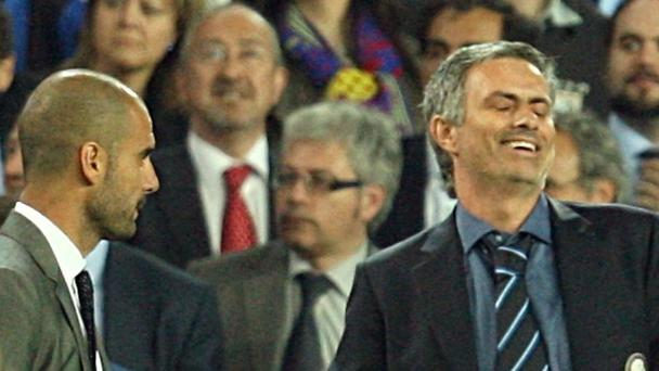 Jose Mourinho, on the right, faces touchline rival Pep Guardiola again this weekend