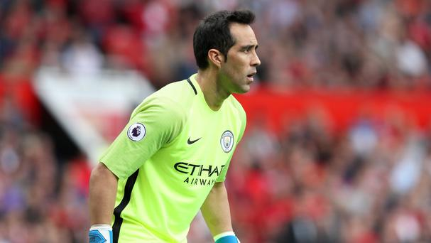 Manchester City goalkeeper Claudio Bravo had a difficult debut