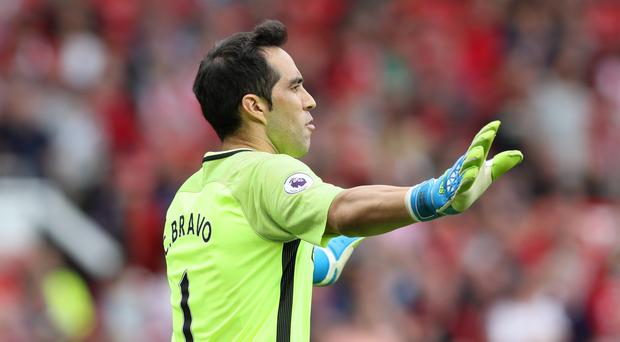 Manchester City goalkeeper Claudio Bravo was praised by his manager