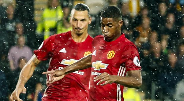 Zlatan Ibrahimovic has been thoroughly impressed by young Manchester United team-mate Marcus Rashford, right