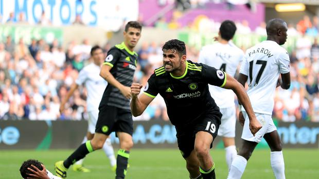 Chelsea's Diego Costa celebrates scoring his side's second goal of the game in the 2-2 draw at Swansea.