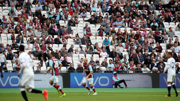 General view of West Ham v Watford on Saturday where the game was marred by trouble.