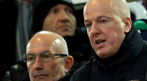 Former West Brom owner Jeremy Peace, right, with boss Tony Pulis.