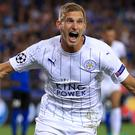 Marc Albrighton scored Leicester's first Champions League goal