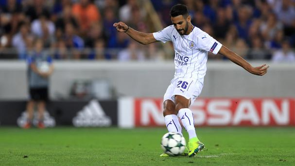 Leicester's Riyad Mahrez scored twice in the 3-0 Champions League win over Club Brugge
