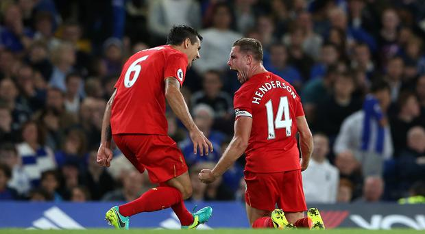 Jordan Henderson celebrates scoring Liverpool's second goal of the game