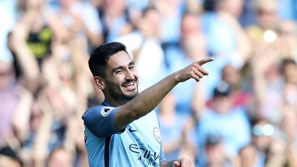 IIkay Gundogan celebrates scoring in Manchester City's 4-0 win over Bournemouth