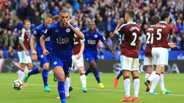 Leicester's Islam Slimani scored twice on his Premier League debut