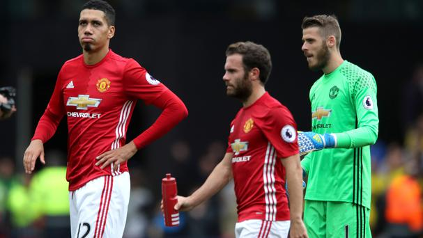 Juan Mata (centre) came off the bench in Sunday's Premier League defeat at Watford.
