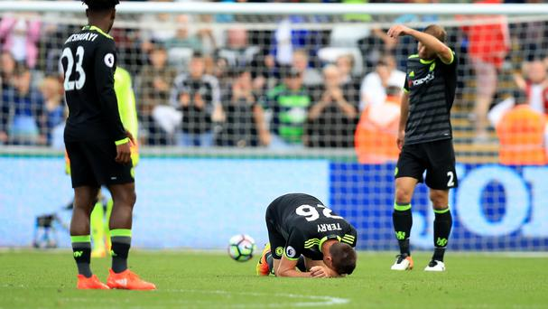 Chelsea's John Terry, on the ground, is not fit to return for the game against Arsenal